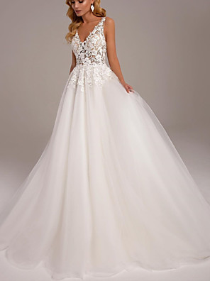 cheap Wedding Dresses-A-Line Wedding Dresses V Neck Sweep / Brush Train Lace Tulle Sleeveless Sexy with 2020