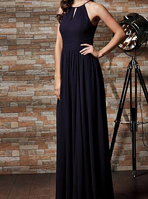 cheap Evening Dresses-A-Line Jewel Neck Floor Length Chiffon Bridesmaid Dress with Pleats
