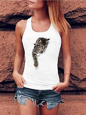 cheap Women's Tanks & Camisoles-Women's Tank Top Cat Racerback Print Round Neck Tops Basic Summer White Gray
