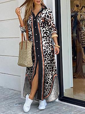 cheap Prom Dresses-Women's Shift Dress Maxi long Dress - Long Sleeve Leopard Print Summer Sexy Holiday Weekend 2020 Black S M L XL XXL