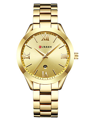 cheap Quartz Watches-CURREN Women's Quartz Watches Quartz Formal Style Modern Style Casual Water Resistant / Waterproof Stainless Steel Silver / Gold / Rose Gold Analog - Rose Gold White+Gold White+Coffee One Year