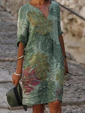 cheap Women's Blouses & Shirts-Women's Shift Dress Knee Length Dress - Half Sleeve Leaf Print Summer V Neck Casual Daily Loose 2020 Green M L XL XXL XXXL