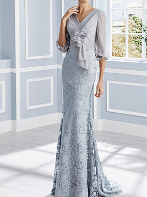 cheap Evening Dresses-Mermaid / Trumpet Mother of the Bride Dress Elegant V Neck Sweep / Brush Train Chiffon Lace Half Sleeve with Pleats Appliques 2020