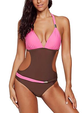 cheap Plus Size Swimwear-Women's Cut Out One-piece Swimwear Swimsuit Bathing Suits - Color Block Blue Yellow Blushing Pink Green S M L