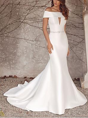cheap Evening Dresses-Mermaid / Trumpet Wedding Dresses Off Shoulder Sweep / Brush Train Satin Sleeveless Formal with 2020