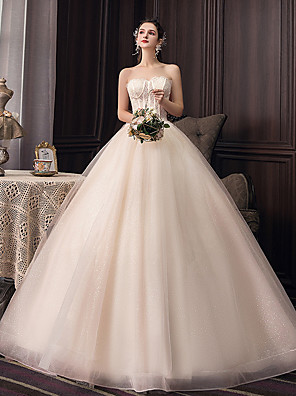 cheap Cocktail Dresses-Ball Gown Wedding Dresses Strapless Watteau Train Tulle Sleeveless Formal Sparkle & Shine Elegant with Lace Pleats 2020