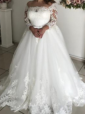 cheap Wedding Slips-A-Line Wedding Dresses Off Shoulder Court Train Lace Tulle Long Sleeve Formal with Sashes / Ribbons Bow(s) 2020