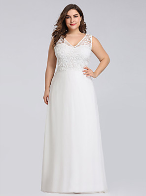 cheap Prom Dresses-A-Line Plus Size White Engagement Formal Evening Dress V Neck Sleeveless Floor Length Lace Polyester with Lace Insert Appliques 2020