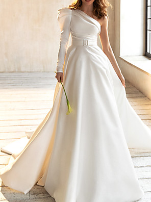 cheap Wedding Dresses-A-Line Wedding Dresses One Shoulder Court Train Satin Long Sleeve Simple with Sashes / Ribbons Ruched 2020