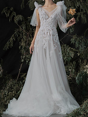 cheap Prom Dresses-A-Line Wedding Dresses V Neck Sweep / Brush Train Lace Tulle Sleeveless Country with Appliques 2020