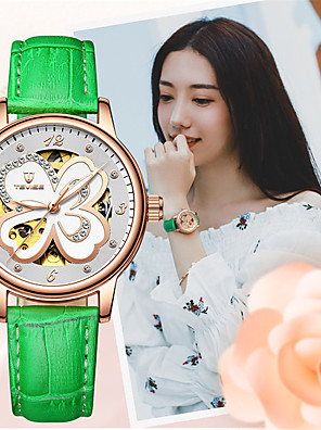 cheap Quartz Watches-Tevise Women's Mechanical Watch Automatic self-winding Stylish Glitter Casual Water Resistant / Waterproof Genuine Leather Analog - Black Blushing Pink Green