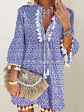 cheap Mini Dresses-Women's Shift Dress Short Mini Dress - Long Sleeve Print Tassel Fringe Print Fall V Neck Casual Daily Flare Cuff Sleeve Loose 2020 Blue Red Gray L XL XXL XXXL