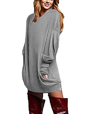 cheap Women's Blouses & Shirts-women& #39;s v neck long sleeve loose baggy tunic tops hoodie mini dress pullover casual blouses t-shirt grey 2xl
