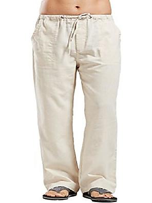 cheap Men's Pants & Shorts-Men's Casual Harem Straight Loose Pants Solid Color Pure Color White Black Blue S M L