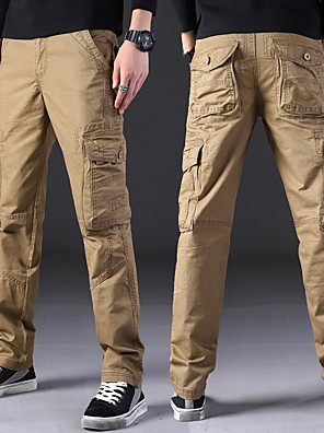 cheap Hiking Trousers & Shorts-Men's Hiking Pants Hiking Cargo Pants Solid Color Outdoor Loose Breathable Soft Comfortable Anti-tear Cotton Pants / Trousers Bottoms Black Army Green Grey Khaki Camping / Hiking Hunting Fishing 28