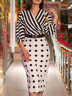 cheap Party Dresses-Women's Sheath Dress Midi Dress - 3/4 Length Sleeve Polka Dot Striped Print Summer Fall V Neck Casual Daily Puff Sleeve Belt Not Included 2020 Black S M L XL XXL