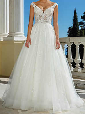 cheap Prom Dresses-A-Line Wedding Dresses V Neck Sweep / Brush Train Lace Tulle Sleeveless Beach with 2020