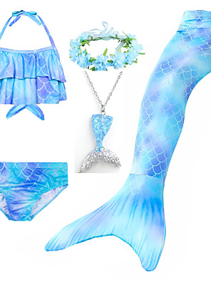 cheap Girls' Swimwear-Kids Girls' Active Cute Mermaid Tail Color Block Rainbow Lace up Sleeveless Swimwear Blue