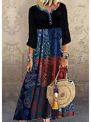 cheap Maxi Dresses-Women's Shift Dress Maxi long Dress - Half Sleeve Print Print Summer Casual Boho Daily Vacation 2020 Black S M L XL XXL XXXL