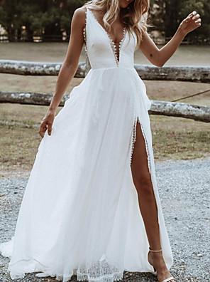 cheap Wedding Dresses-A-Line Wedding Dresses V Neck Floor Length Tulle Sleeveless Beach Sexy with Split Front 2020