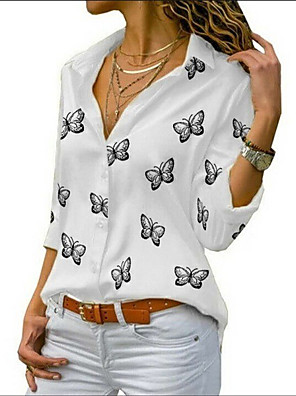 cheap Women's Blouses & Shirts-Women's Plus Size Shirt Butterfly Long Sleeve Print Shirt Collar Tops Basic Basic Top White Black Blue