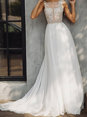cheap Wedding Dresses-A-Line Wedding Dresses V Neck Court Train Lace Tulle Sleeveless Beach with Appliques 2020