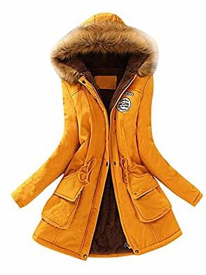 abordables Manteaux en Laine et Mélange de Laine pour Femme-femmes mode hiver chaud col en fausse fourrure à capuche veste à manches longues parka outwear manteaux jaune