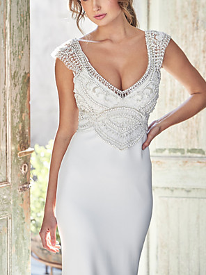 cheap Wedding Dresses-Mermaid / Trumpet Wedding Dresses Plunging Neck Court Train Jersey Sleeveless Simple with Beading 2020