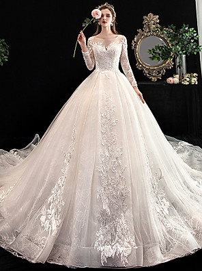 cheap Evening Dresses-Ball Gown Wedding Dresses V Neck Cathedral Train Lace Long Sleeve Formal Elegant with Lace Pleats Embroidery 2020