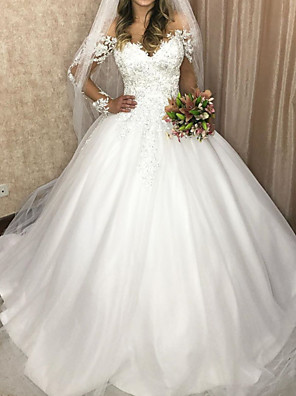 cheap Wedding Dresses-Ball Gown Wedding Dresses V Neck Sweep / Brush Train Lace Tulle Sleeveless Formal with Appliques 2020
