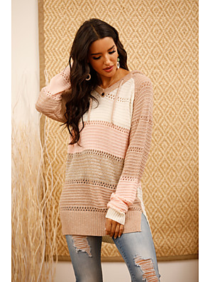 cheap Print Dresses-Women's Striped Pullover Long Sleeve Sweater Cardigans V Neck Blushing Pink