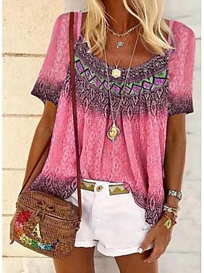 cheap Women's Blouses & Shirts-Women's Going out T-shirt Color Gradient Tribal Print U Neck Tops Basic Basic Top Blue Purple Yellow