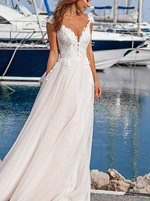 cheap Wedding Dresses-A-Line Wedding Dresses V Neck Floor Length Lace Tulle Sleeveless Beach Sexy with Appliques 2020