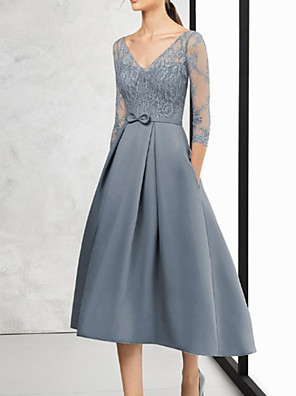 cheap Evening Dresses-A-Line Mother of the Bride Dress Elegant V Neck Asymmetrical Lace Satin 3/4 Length Sleeve with Bow(s) 2020