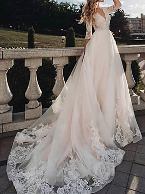 cheap Wedding Dresses-A-Line Wedding Dresses V Neck Sweep / Brush Train Tulle Half Sleeve Country with 2020