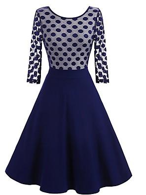 cheap Women's Dresses-Women's A-Line Dress Knee Length Dress - 3/4 Length Sleeve Polka Dot Patchwork Summer Elegant Daily Slim 2020 Black Blue S M L XL XXL