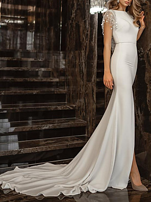 cheap Wedding Dresses-Mermaid / Trumpet Wedding Dresses Jewel Neck Chapel Train Spandex Short Sleeve Simple with Tassel 2020
