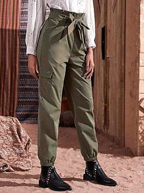 cheap Women's Pants-Women's Basic Daily Chinos Tactical Cargo Pants - Solid Colored Comfort Green S / M / L