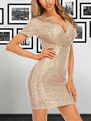 cheap Print Dresses-Women's Sheath Dress Short Mini Dress - Short Sleeve Sequins Summer V Neck Sexy Cocktail Party Slim 2020 Black Gold S M L XL XXL