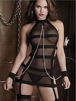 levne Sexy těla-Dámské Síťka Kostýmy Kombinéza Noční prádlo Žakár Jednobarevné Výšivka Černá M L XL