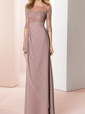 cheap Evening Dresses-Sheath / Column Mother of the Bride Dress Elegant Jewel Neck Floor Length Chiffon Lace 3/4 Length Sleeve with Draping 2020