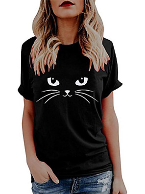 cheap Women's Tops-Women's T shirt Cat Graphic Butterfly Print Round Neck Tops 100% Cotton Basic Basic Top White Black Blue