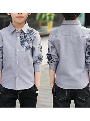 cheap Boys' Tops-Kids Boys' Basic Jacquard Solid Colored Print Long Sleeve Shirt White