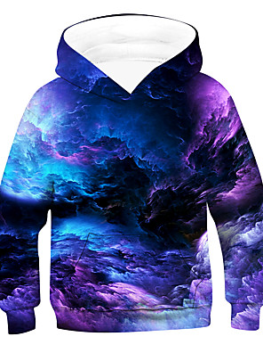 cheap Boys' Tops-Kids Boys' Active Basic Galaxy Long Sleeve Hoodie & Sweatshirt Purple