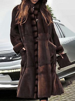 cheap Women's Fur & Faux Fur Coats-Women's Stand Collar Faux Fur Coat Long Solid Colored Party Basic Brown S M L / Oversized