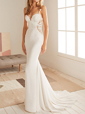 cheap Wedding Dresses-Mermaid / Trumpet Wedding Dresses V Neck Court Train Lace Satin Sleeveless Country with Appliques 2020