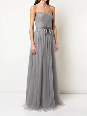 cheap Prom Dresses-A-Line Strapless Floor Length Tulle Bridesmaid Dress with Sash / Ribbon / Pleats