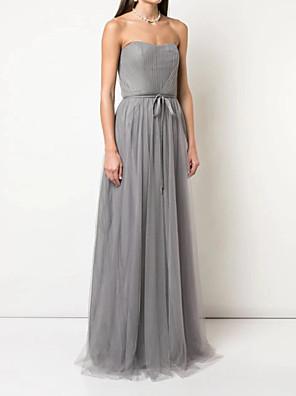 hesapli Balo Elbiseleri-A-Şekilli Straplez Yere Kadar Tül Nedime Elbisesi ile Kurdeleler / Pileler