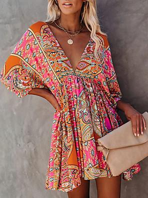 Χαμηλού Κόστους Μακριά Φορέματα-Γυναικεία Φόρεμα σε γραμμή Α Μακρύ φόρεμα - Κοντομάνικο Φλοράλ Εξώπλατο Στάμπα Καλοκαίρι Λαιμόκοψη V Σέξι Καθημερινά Μανίκι Νυχτερίδα Λεπτό 2020 Ρουμπίνι Τ M L XL XXL