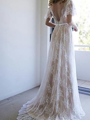 cheap Wedding Dresses-A-Line Wedding Dresses V Neck Sweep / Brush Train Lace Short Sleeve Beach Boho with Sashes / Ribbons 2020